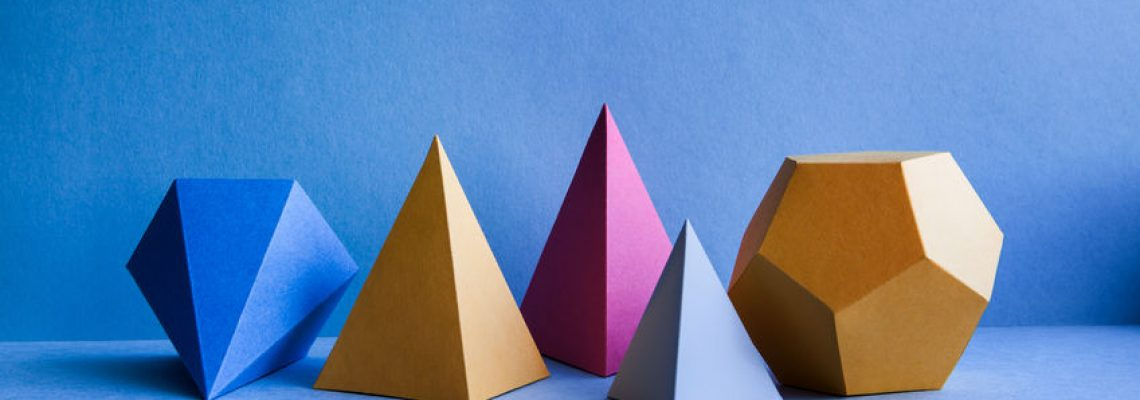 Abstract geometric figures. Three-dimensional dodecahedron pyramid tetrahedron cube rectangular objects on blue background. Bright platonic solids still life background